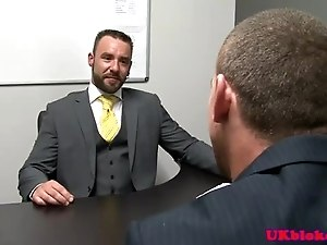 Handsome office bear fingering hunks ass