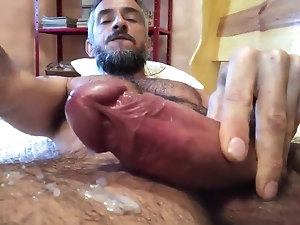 Sexy hot italian hairy and huge cock cumming