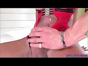 Big cock shemale Keyla Marques anals guy n rides on his cock