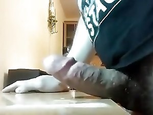 Thick veiny cock shoots huge load