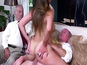 Old man playing with pussy and blonde girl Ivy impresses with her larg