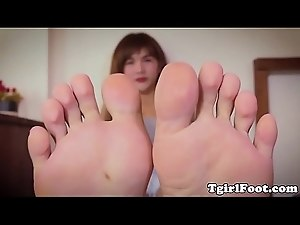 Footfetish ladyboy shows of her feet
